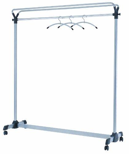 Alba Mobile garderobe met 4 wielen metalen frame Verrijdbare garderobe grijs