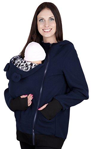 Mija - Maternité chaude Sweet ? capuche / Pull pour deux / Pour porter les bébés 4019A (EU 44, Bleu marin)