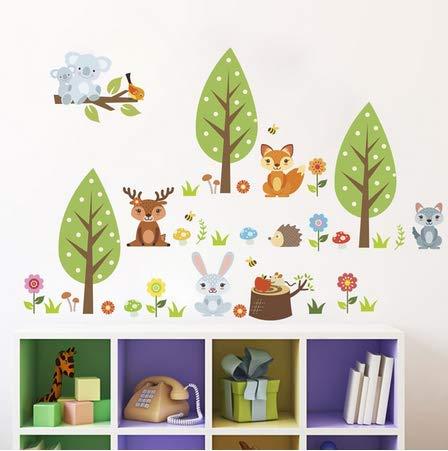 Koala Fox Cartoon bomen muur Sticker DIY Vinyl creatieve muurschildering stickers voor kinderen baby kamer kasten kinderkamer decoratie
