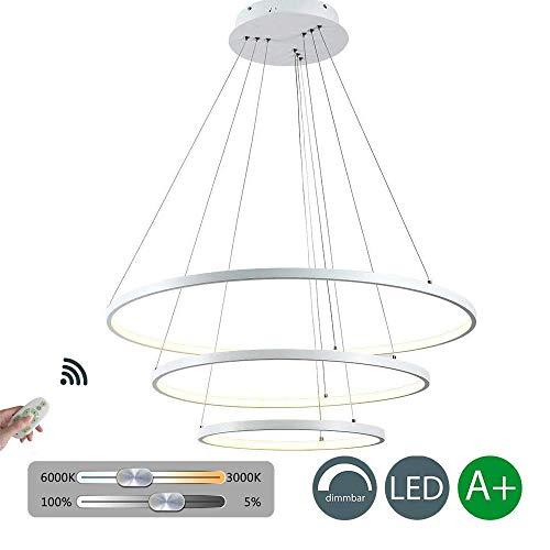 Moderne LED hanglamp 114W dimbaar met afstandsbediening hanglamp rond 3 ringen aluminium wit acryl in hoogte verstelbaar hanglamp eettafel