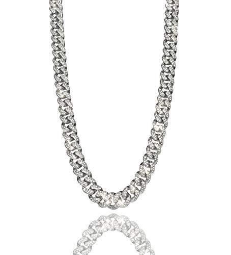 Natural Diamonds Ventr UK 12MM Curb Cuban Link Chain Necklace Silver 20' Men's Women's Choker