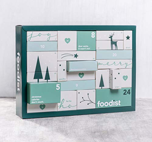 FOODIST VEGAN Adventskalender 2019,24 Vegane Snacks Superfood Advent Kalender, Veganadventskalender Schokoadventskalender Frauenadventskalender Männeradventskalender Weihnachtskalender