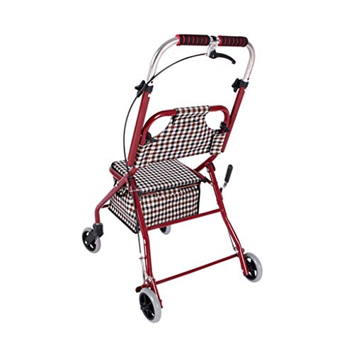 CHenXy Älteres unterstütztes gehendes Auto mit dem Einkaufskorb, der Armlehne mit Rädern mit Rückenlehne geht, kann sitzen und 75-150kg tragen medizinische Walker (Color : Plaid)