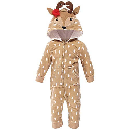 Hudson Baby Unisex Fleece Jumpsuits, Coveralls, and Playsuits, Girl Reindeer Baby, 0-3 Months
