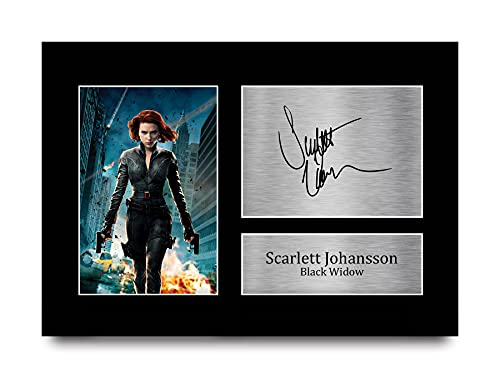 HWC Trading Scarlett Johansson Signed Autograph Printed A4 Black Widow Reading From The Avengers Image Photo Print