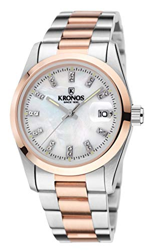 KRONOS - Elegance Bicolor Rose Zirconia 968.8.34ZR - Reloj de señora de Cuarzo, Brazalete de Acero, Color Esfera: Blanca