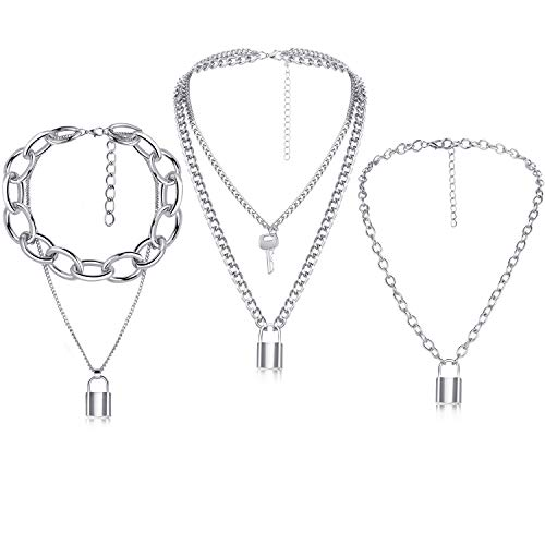 3 Pieces Lock Key Pendant Necklace Long Punk Chain Multilayer Chain for Women Girls (Silver)