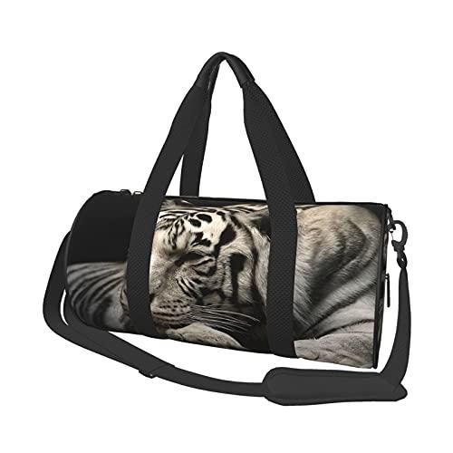 Bolsa de viaje de tigre blanco ligera, suave, duradera, de gran capacidad, portátil, cilíndrica, para entrenamiento, ocio, bolsa de viaje