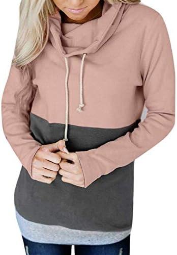 Pullover met lange mouwen voor dames casual modern met capuchon sweatshirt met capuchon sweatshirt met capuchon kleur blok top geel roze grijs blauw mode 2020