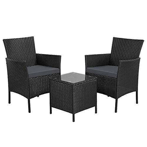 Yaheetech Set Mobili da Giardino 2 Poltrone con Cuscini e 1 Tavolino in Rattan PE Impermeabile per Esterno Nero/Grigio