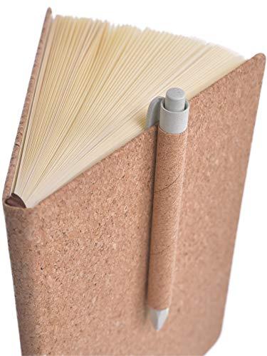 beneyu ® Umweltfreundliches Notizbuch A5 blanko aus echtem Natur-Kork - 80 Blatt - für Bullet Journal oder Tagebuch + Stift (Kork, A5 (21x14cm))