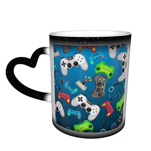 Taza de café de cerámica que cambia el calor, juegos de video, taza de té mágica sensible para café, té, leche o cacao para hombres y mujeres