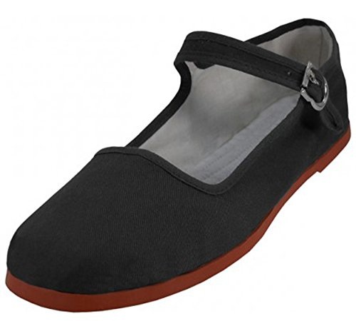 Easy USA Womens Cotton Mary Jane Shoes Ballerina Ballet Flats Shoes (10, Black 114)