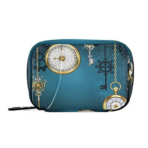 Estuche organizador de píldoras de relojes antiguos dorado para 7 días con cierre de velcro para campamento, viajes de negocios, viajes