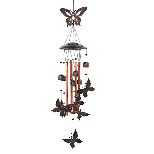 BLESSEDLAND Butterfly Wind Chime-4 Hollow Aluminum Tubes -5 Wind Bells 7 Butterflies-Wind Chime with S Hook for Indoor and Outdoor