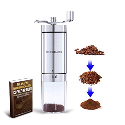 Wheroamoz Manual Coffee Grinder,Conical Burr Mill With Adjustable Setting,...