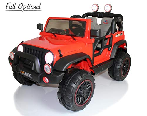 Mondial Toys Auto ELETTRICA 12V per Bambini 2 POSTI Maxi Fuoristrada con Telecomando 2.4G Soft Start AMMORTIZZATORI Full Optional HP-002 Rosso