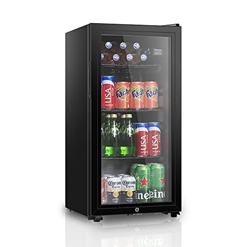 HAILANG Beverage Refrigerator With 105 Can,Freestanding Beverage Cooler For Office, Bar,Home Double Glass Door&Adjustable Shelving