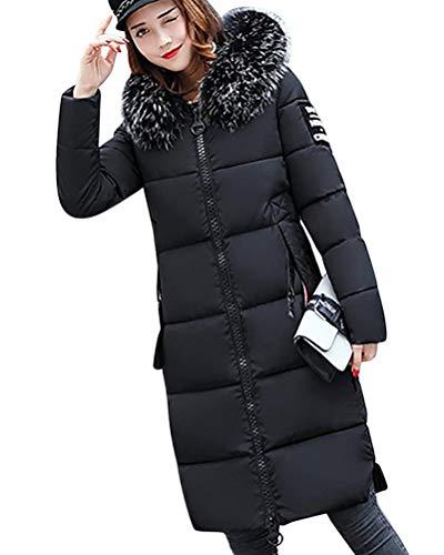 Tomwell Hiver Manteau avec Capuche Fourrure Doudoune Femme Zippé Longue Duvet de Coton Grande Taille Doudoune Noir FR 44