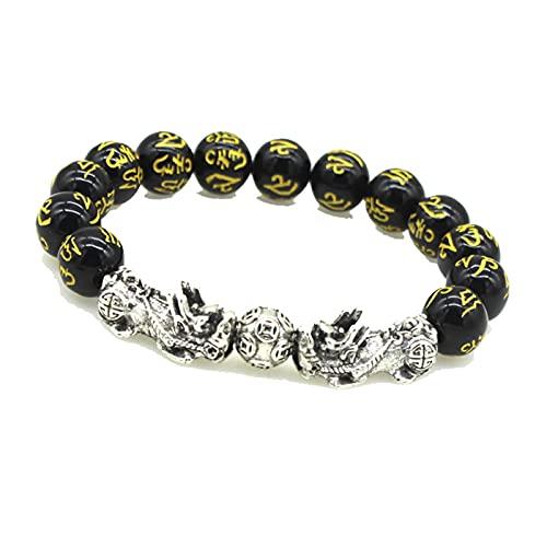 2Pcs Obsidian Stone Beads Bracelet Pixiu Bracelet Black Wealth Bracelet Feng Shui Bracelets Luck Bracelet For Women Man 12Mm