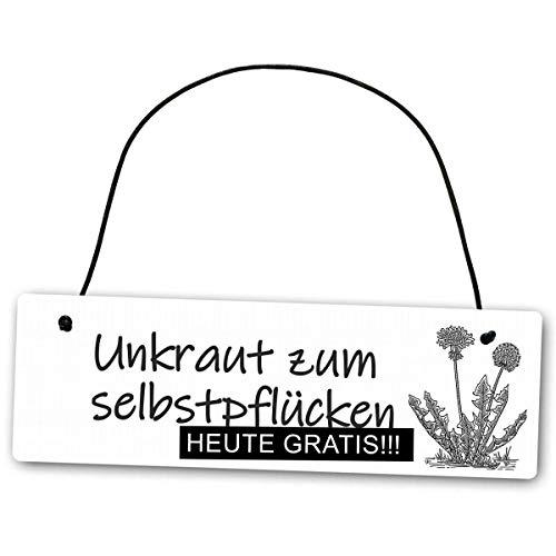 Homeyourself Hochwertiges Schild 25 x 8 cm Unkraut zum selbstpflücken weiß Dekoschild Wandschild Garten Gartenschild lustig