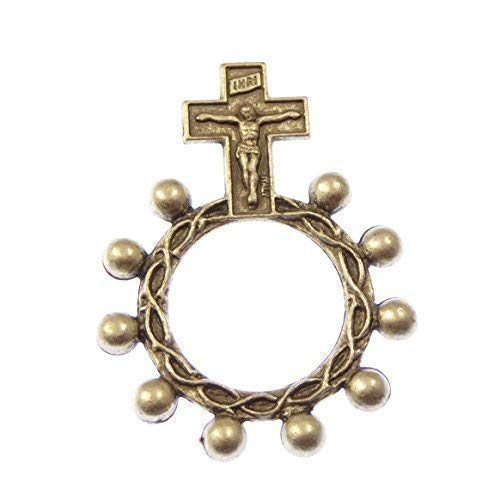 1 One Decade pocket rosary beads - silver metal rosary ring