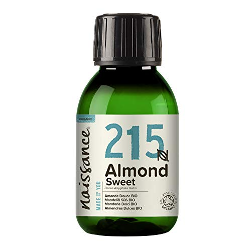 Naissance Certified Organic Sweet Almond Oil (no. 215) 100ml – for Skin Hair Massage Nails Ears Face Body Stretch Marks - Natural Skin Care Cold Pressed Unrefined Food Grade Carrier Oil Aromatherapy