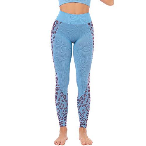 E/A Pantalones de Yoga de Cintura Alta sin Costuras para Mujer, Leggings Ajustados con Estampado de...