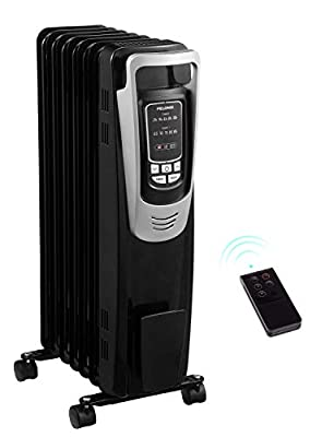 PELONIS Electric 1500W Oil Filled Radiator Heater with Safety Protection, LED Display, 3 Heat Settings and Five Temperature Settings. Perfect for for Home or Office (Renewed)