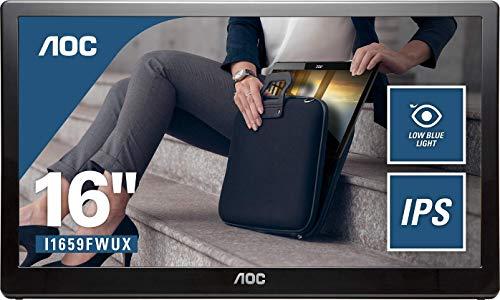 AOC I1659FWUX 39,6 cm (15,6 Zoll) tragbarer USB Monitor (Stromversorgung über USB 3.0, 1920 x 1080, 60 Hz) schwarz