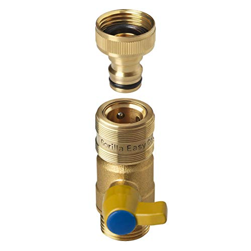 GORILLA EASY CONNECT Garden Hose Quick Connect Fittings with Ball Valve Shut Off. ¾ Inch GHT Solid Brass.
