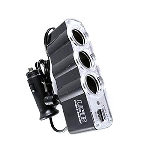 Generic Adaptador para mechero de coche con 3 enchufes, divisor para coche de carga rápida 12 V/24 V con puertos de carga USB, cargador de coche para portátil, MP3 para coche, teléfono móvil