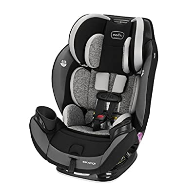Evenflo EveryStage DLX All-in-One Car Seat, Kids' Rear-Facing Seat, Convertible & Booster Seat, Grows with Child Up to 120 lbs, Angled for Comfort & Safety, 3-Times-Tighter Installation, Canyons Gray
