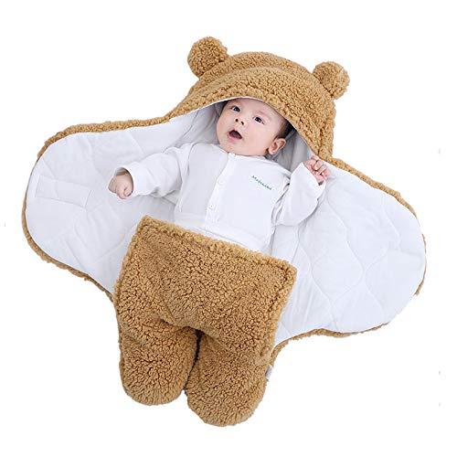 Yanding Saco de dormir envuelto para bebé, forma de oso de peluche, adecuado para bebés de 0 a 6 meses, mantas de felpa unisex, fácil de limpiar (0 a 2 meses, marrón)