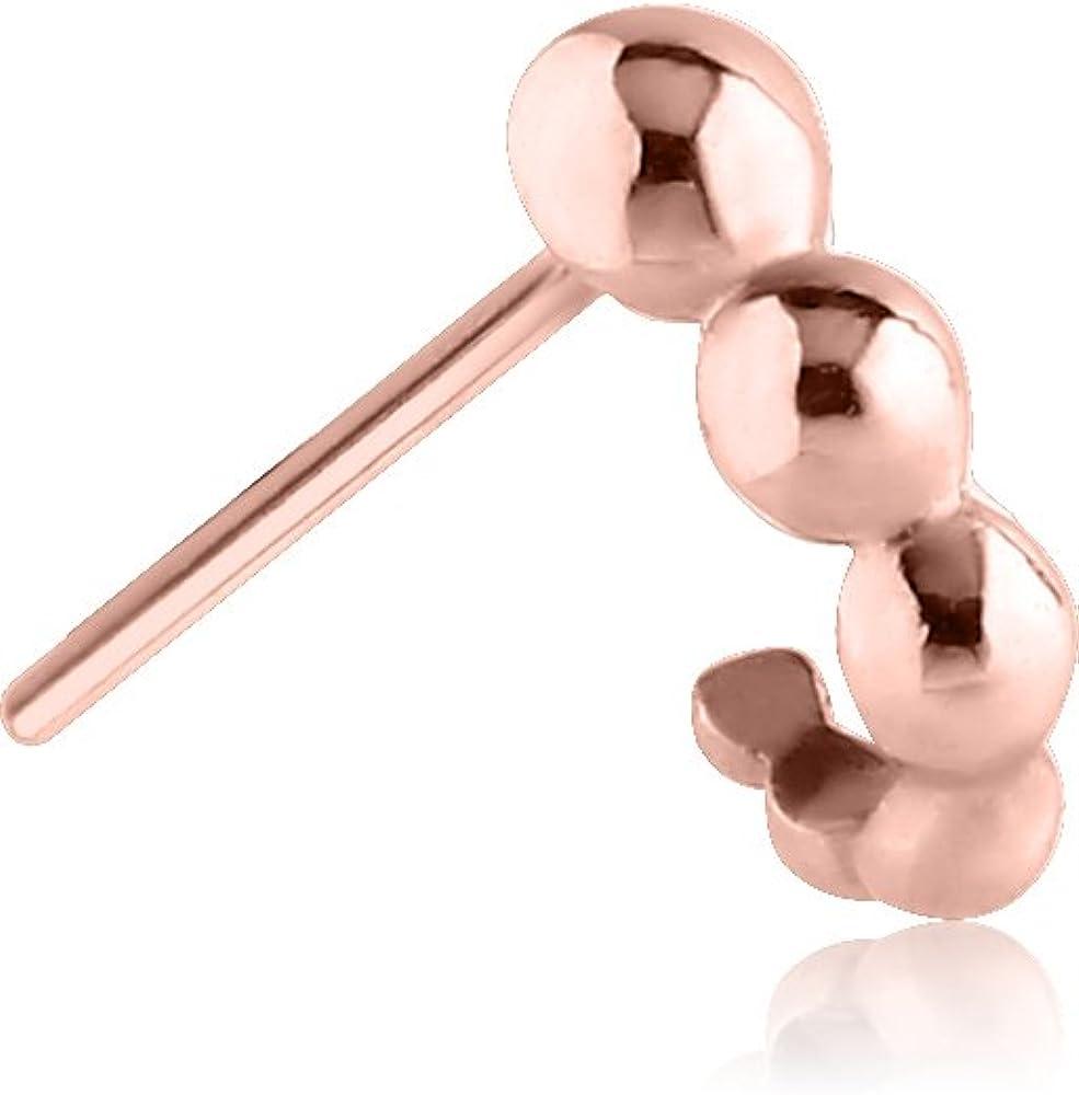 Gold PVD Surgical Steel L Bend Nose Stud Ring Flower Nose Hugger 20G