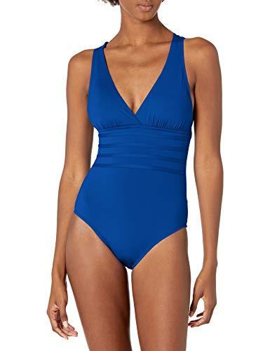 La Blanca Women's Island Goddess Multi Strap Cross Back One Piece Swimsuit, Blueberry, 20W