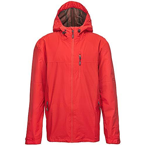33,000ft Regenjacke Herren Wasserdicht Outdoorjacke Leichte Freizeitjacke Packbare Windjacke Fahrrad Regenmantel mit Kapuze Rot M