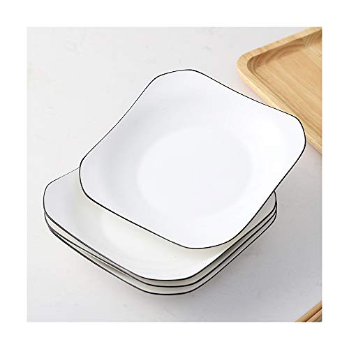 ZLSP Plato cuadrado Conjunto de combinación, mujeres Comida plato de carne occidental vajilla de cerámica ZLSP (Color : 7 inches four)