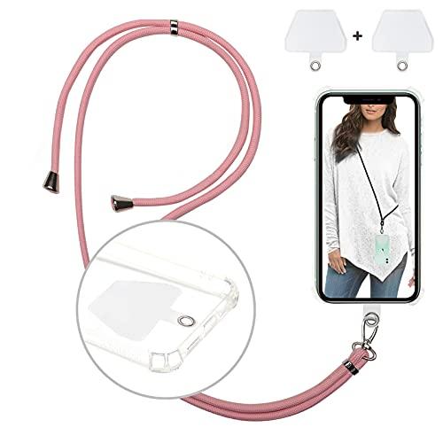 Corda per Smartphone Universale con Cordino a Tracolla Regolabile in Nylon Staccabile da Collo e 2 Patch Resistenti per Maggior Parte di Smartphone (Rosa)
