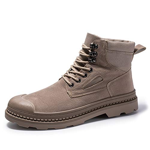 XueQing Pan Classic Enkellaarsjes for mannen Work Boot Lace up PU Leather & Doek Split Joint slijtvaste anti-slip Collision Avoidance Toe (Color : Camel, Size : 44 EU)