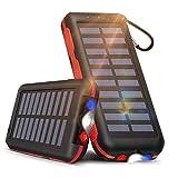【25000mAh大容量&LEDライト付き】モバイルバッテリー ソーラーチャージャー 25000mAh 大容量 ソーラー充電器 【PSE認証済】2つ入力ポート「MicroとLightning」と3つ出力ポート 携帯充電器 LEDライト付き IPX6防水 持ち運び便利 急速充電 太陽光で充電可能 スマホ充電器 地震/災害/旅行/出張/アウトドア活動などの必携品 iPhone/ iPad/ Android各種対応