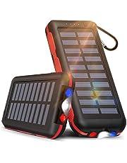 【ソーラー充電&LEDライト付き】モバイルバッテリー ソーラーチャージャー 25000mAh 大容量 ソーラー充電器 【PSE認証済】2つ入力ポート「MicroとLightning」と3つ出力ポート 携帯充電器 LEDライト付き IPX6防水 持ち運び便利 急速充電 太陽光で充電可能 スマホ充電器 地震/災害/旅行/出張/アウトドア活動などの必携品 iPhone/iPad/Android各種対応
