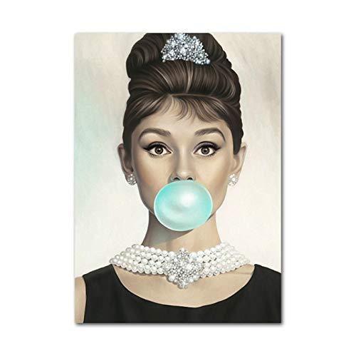DIANFANBAO Marilyn Monroe Masticar Chicle Impresiones de la Lona Arte de la Pared Imagen Audrey Hepburn Pintura Cartel para la Sala de Estar Dormitorio Decoración 40X60Cm Sin Marco