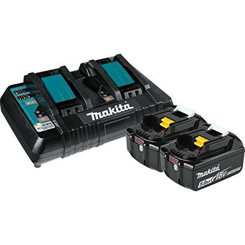 Makita BL1850B2DC2 5.0 Ah 18V LXT Lithium-Ion Battery and Dual Port Charger Starter Pack , Black