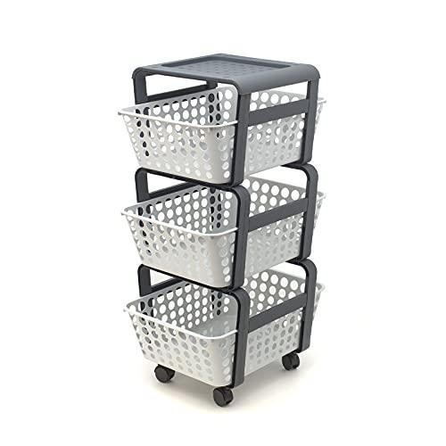 FGC Carro de almacenaje con 1 estante y 3 cestas extraíbles, organizador de plástico gris y blanco, con 4 ruedas, para baño, cocina y casa