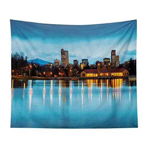 Wall Mounted Tapestry - Downtown Denver Ferril Lake Colorado at The Morning City Park Capital - Bedroom, Family Dormitory, Fun Gifts,67x79 Inch