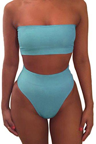 Viottiset Bandeau Top Damen Bikini Set High Waist Badeanzug mit Abnehmbare Träger S Blau