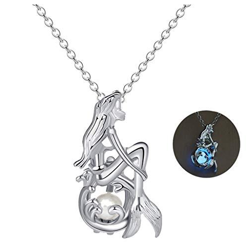 Leuchtende Frauen Halskette Schmuck Geschenk Aushöhlen Meerjungfrau Perle Hals Anhänger Kette Metall Nacht Leuchten Silber Elegante Mädchen Blau Grün