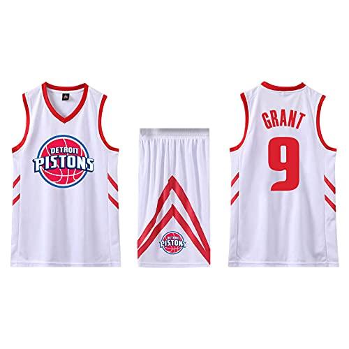 SPONYBORTY Conjunto de 2 piezas de camiseta sin mangas de entrenamiento de baloncesto y pantalones cortos Traje de camiseta Pantalones cortos deportivos Detroit Pistons Jerseys + Pantalones L