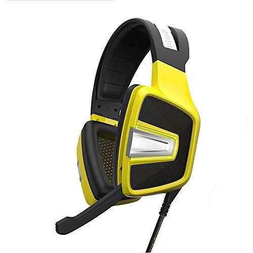 QNSQ Gaming-koptelefoon met zeer gevoelige ruisonderdrukking microfoon, geïntegreerd 7.1-kanaal, 360 graden surround-sound design met ademende RGB-lampen, size, geel